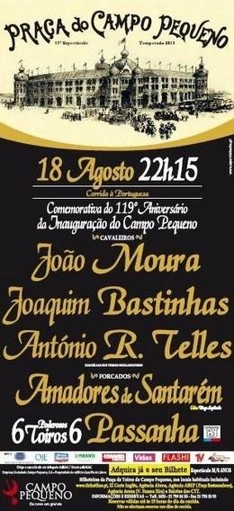 Corrida Comemorativa do 119º aniversário da Inauguração da Praça de Toiros do Campo Pequeno