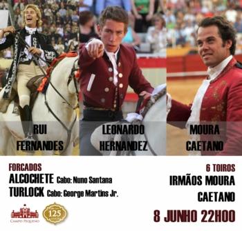 Rui Fernandes, Leonardo Hernández e Moura Caetano a 8 de Junho no Campo Pequeno