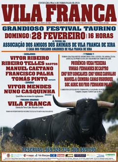 Cartel completo para o festival taurino a favor da liga dos amigos dos animais de Vila Franca