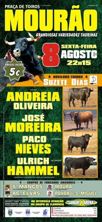 Dia 8 de Agosto há variedades taurinas em Mourão