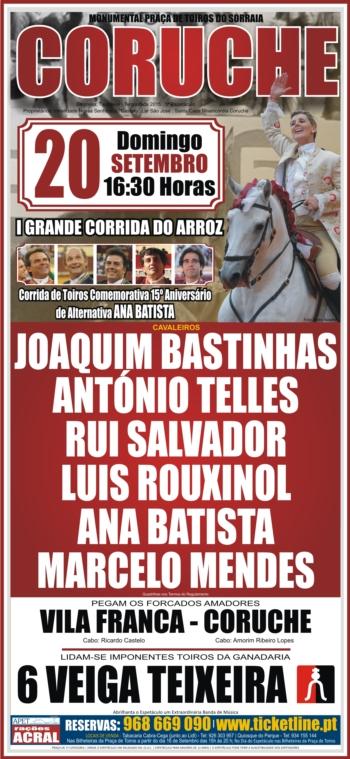 Coruche recebe corrida comemorativa dos 15 anos de alternativa da cavaleira Ana Batista
