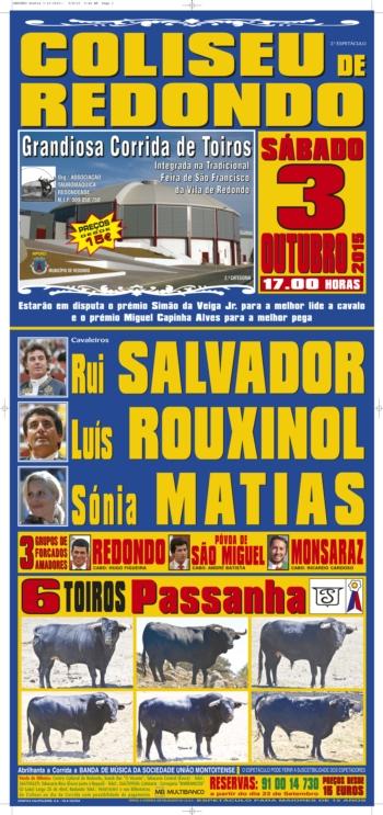 3 de outubro há toiros no Coliseu de Redondo