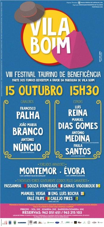 VIII Festival Taurino de Beneficência a 15 de Outubro em Vila Boim